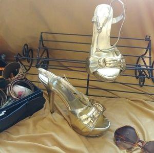 Gold Platform Open toe heels